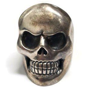 .925 Silver Metallic Classic Skull Ring Size 11.5